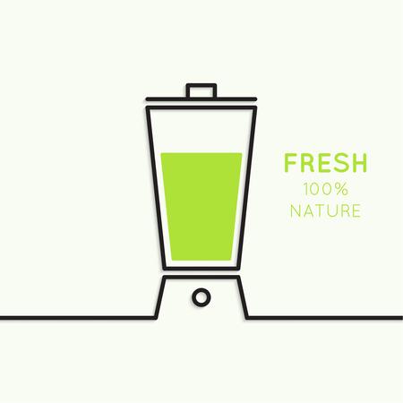 Blender with freshly prepared natural drinks. Useful, food. natural juice