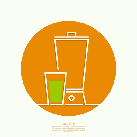 juice extractor: Blender with freshly prepared natural drinks. Useful, food. natural juice. Icons for web and mobile applications