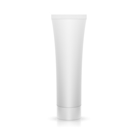 The plastic tube on a glossy surface. Packing for cream, gel, toothpaste, cosmetics. Mock up.