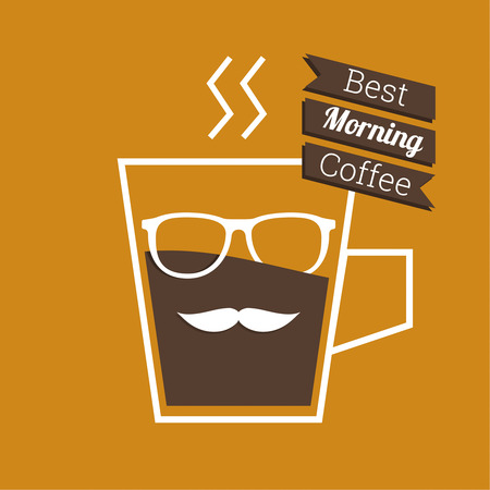 coffeehouse: Abstract background with a cup of coffee, with a mustache and glasses and text best morning Coffee. for menu, restaurant, cafe, bar, coffeehouse.  Outline