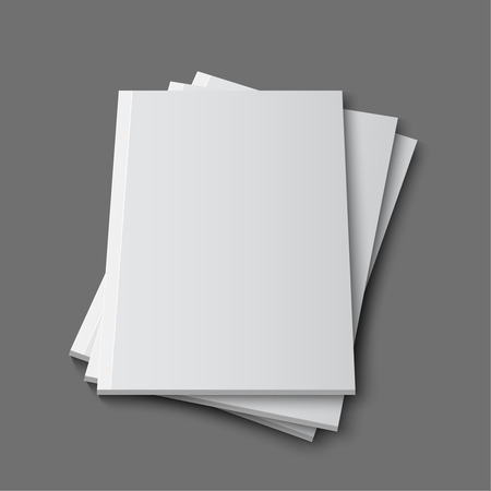 blank book cover: Blank empty magazine or book template lying on a gray background. vector