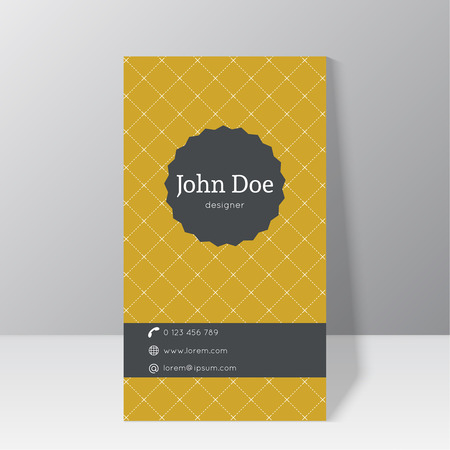 Trendy business card template stationary standing near the wall with vintage label and elegant diagonal pattern. Minimalism design.
