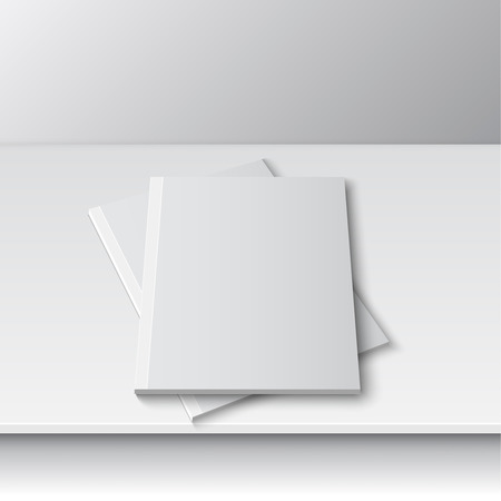 Blank empty magazine or book or booklet, brochure, catalog template  on a gray shelf. vector