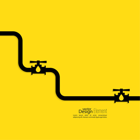 Piping with shutoff valve. Feed gas, water and oil. industrial concept  イラスト・ベクター素材