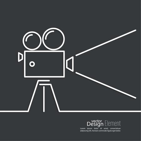 Caméra Ancien avec bobine sur un fond sombre et un rayon de lumière. Symbole de l'industrie du film, le cinéma, la photographie. minime. Outline. Banque d'images - 36306880