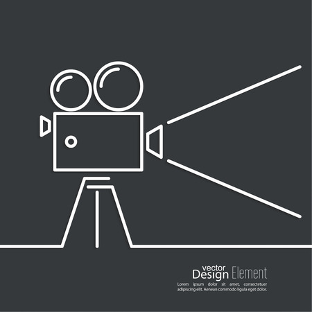 cinematograph: Old movie camera with reel on a dark background and a ray of light. Symbol of the film industry, cinema, photography. minimal. Outline.
