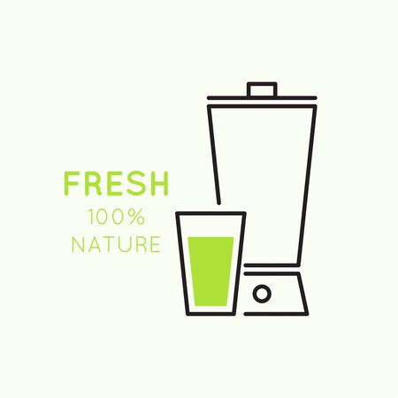 freshly prepared: Blender with freshly prepared natural drinks. Useful, food. natural juice
