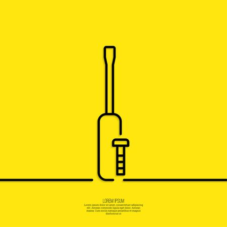 Screwdriver with bolt.  Assembly and restoration. The concept of repair, support. minimal. Outline. Illustration