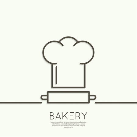 bakery oven: Chef hat and rolling pin for test. Sign, emblem, badge, banner for confectionery, bakery. concept of fresh baking. minimal. Outline. Illustration