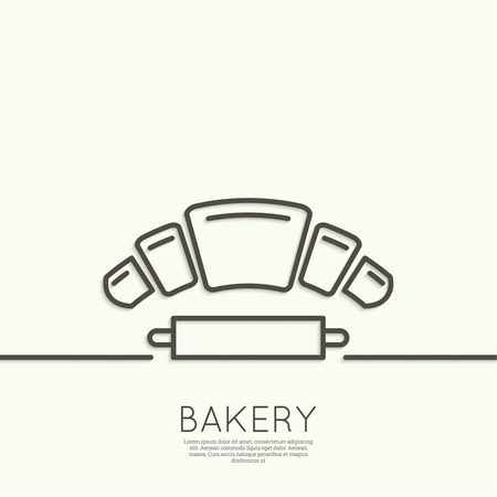 traditionally french: Croissant and rolling pin. test. Sign, emblem, badge, banner for confectionery, bakery. concept of fresh baking. minimal. Outline.