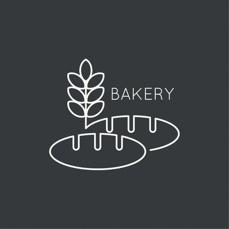 baking bread: A loaf of bread and wheat ears. Sign, emblem, badge, banner for confectionery, bakery. concept of fresh baking. minimal. Outline.
