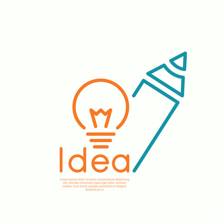 Bulb light idea and pencil.  concept  of ideas inspiration innovation, invention, effective thinking. minimal. Outline. Vectores