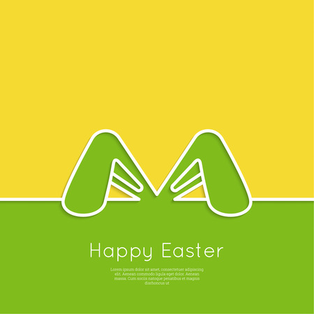 Easter bunny ears. Happy Easter card. minimal. Outline.