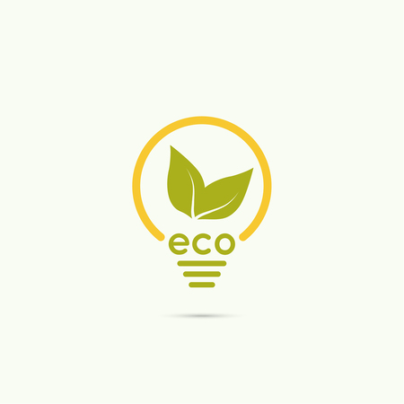 logo ecology: Electric light bulb with green leaves. green eco energy concept.