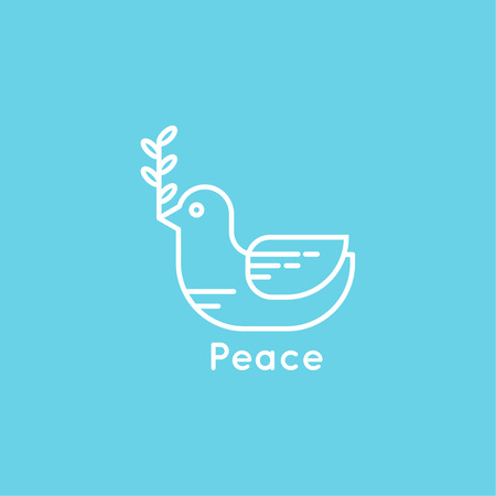 heaven on earth: Symbol of peace dove with olive branch. minimal. Outline