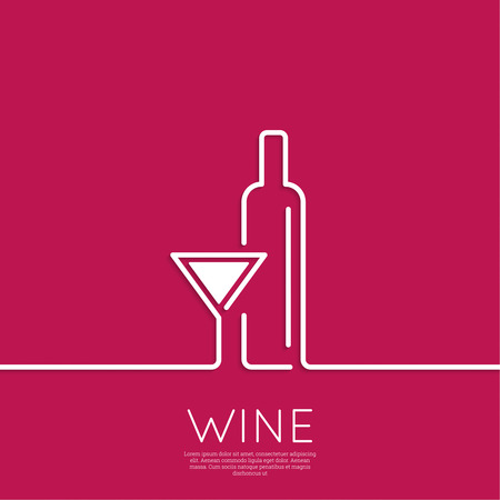 bar line: Bottle of wine with a glass wine. Icon, symbol, logo alcohol. For the menu, bar, restaurant, wine list. minimal. Outline