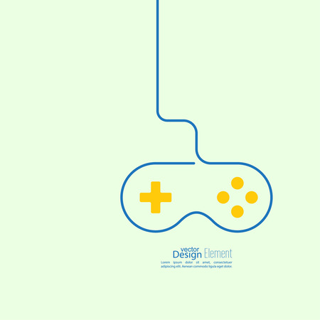dependence: Game background wire and joystick. outline. The concept of gambling addiction and dependence.