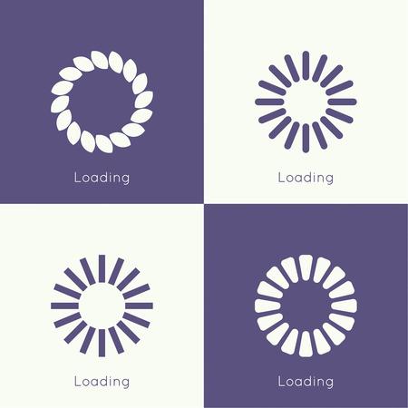 Set of vector downloaders. progress bar and loading icon. ui preloader web elements. flat design with long shadows Vector