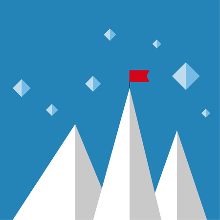 Vector abstract background with mountains and a red flag at the peak. The concept of overcoming difficulties to achieve winning results. Achieving the goal. Illustration