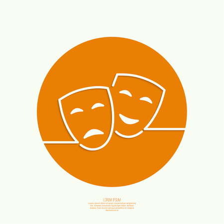 tragedy mask: Comic and tragic theatrical mask. Drama, tragedy, humor, comedy, performance genres. Outline. icon