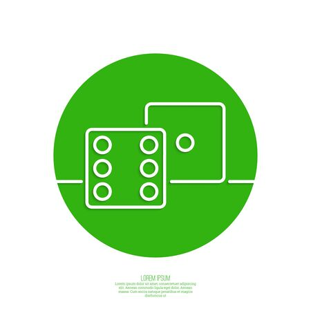 ardour: dice cubes. Concept of winning and success. green. Outline. minimal. Vector icons for mobile applications. Illustration