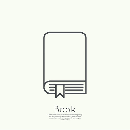 book reader: Icon book with bookmark. minimal. Outline. for web and mobile applications