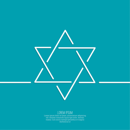 hannukah: Star of david. Vector. minimal. Outline. background