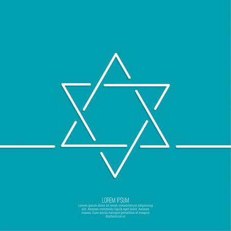 yiddish: Stella di Davide. Vector. minima. Outline. sfondo