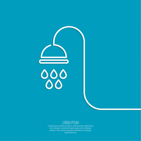 douche: Shower handle with water drops. Symbol shower, cleanliness, hygiene. minimal. Outline.
