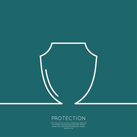 honor guard: Shield symbol on a blue background. Protection and defense. minimal. Outline. Illustration
