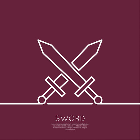 Crossed Swords. The concept of war, attack, battle, fight.  minimal. Outline. Ilustração