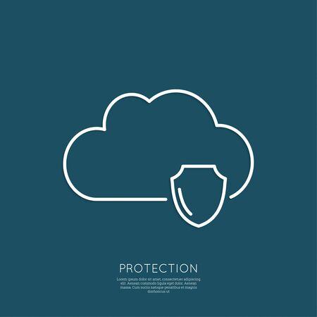 elementos de protección personal: Concepto de Seguridad Cloud. Protección completa de información y bases de datos en un servicio remoto. mínima. Esquema. Vectores