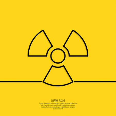 deterrent: Vector radiation symbol on a yellow background. minimal. Outline.