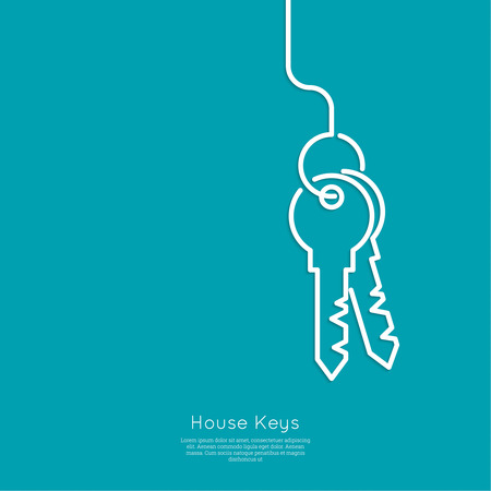 privileges: Bunch of keys on blue background. The concept of entry, wealth. minimal. Outline.