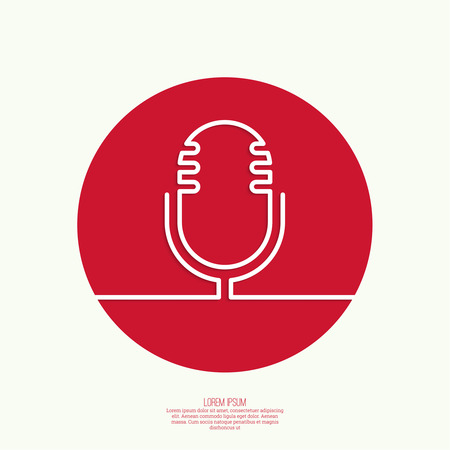 entertaining presentation: Web icon with an old microphone. Notification, advertising, writing, and important messages. Radio broadcast. On air. Outline
