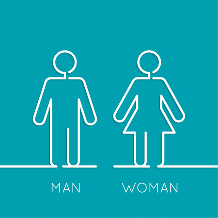 toilet door: Vector man and woman icons, toilet sign, restroom icon, minimal style, pictogram. minimal. Outline