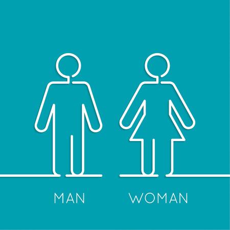 Vector man en vrouw pictogrammen, toilet teken, toilet pictogram, minimalistische stijl, pictogram. minimaal. Schets Stock Illustratie