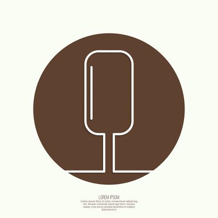 ice cream on stick: Helado en un icono palo. Golosina dulce, postre. mínima. Esquema. Mobile app