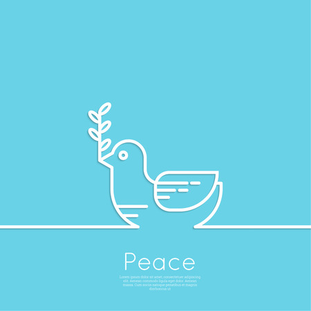 antiwar: Symbol of peace dove with olive branch. minimal. Outline