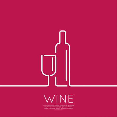 wine background: Bottle of wine with a glass wine. Icon, symbol, logo alcohol. For the menu, bar, restaurant, wine list. minimal. Outline