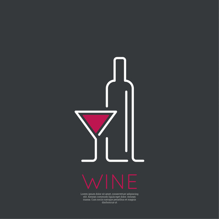 Bottle of wine with a glass wine. Icon, symbol, logo alcohol. For the menu, bar, restaurant, wine list. minimal. Outline Vector