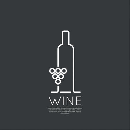 logos restaurantes: Botella de vino con una copa de vino. Icono, s�mbolo, logotipo alcohol. Para el men�, bar, restaurante, carta de vinos. m�nima. Contorno Vectores