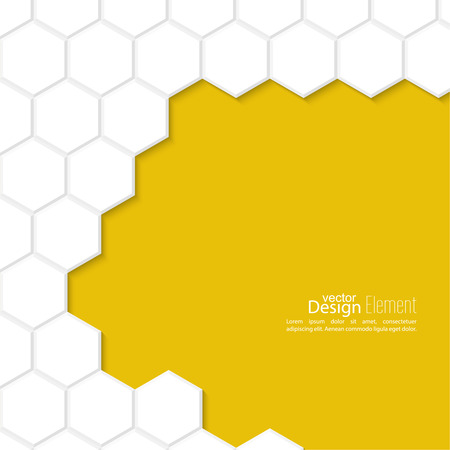 Abstract background with honeycomb, white, yellow. For cover book, brochure, flyer, poster, magazine, booklet, leaflet, cd cover design, mobile app, annual report template