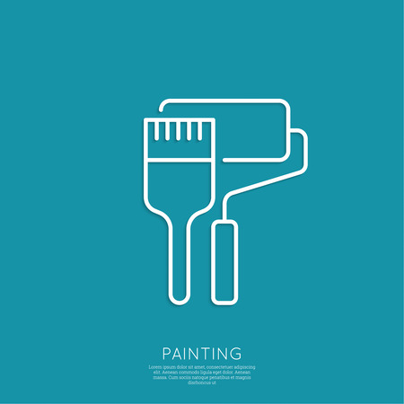 Brush and paint roller. Painting and restoration. Painting work. Outline. minimal