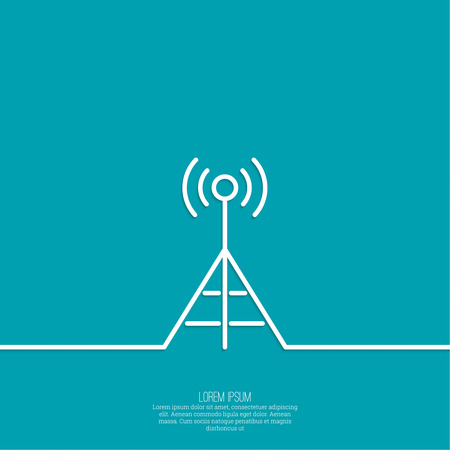 communications tower: Radio antenna transmits a signal. On air. Tower mobile communications, transmission and reception. Outline. minimal.