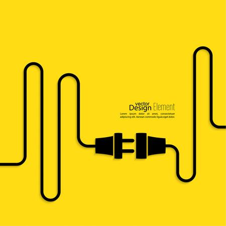 Abstract background avec prise de fil et la douille. connexion Concept, connexion, déconnexion, l'électricité. Design plat. Jaune, noir Banque d'images - 37188141