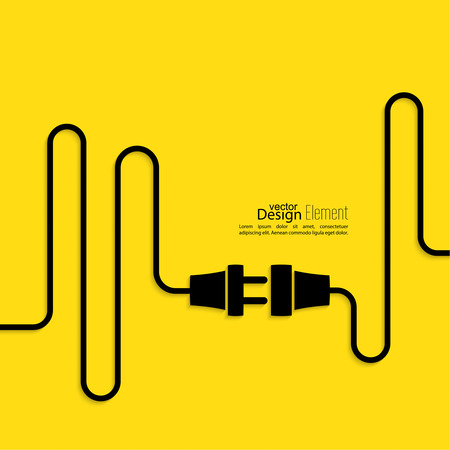 Abstract background with wire plug and socket. Concept connection, connection, disconnection, electricity. Flat design. Yellow, black 免版税图像 - 37188141