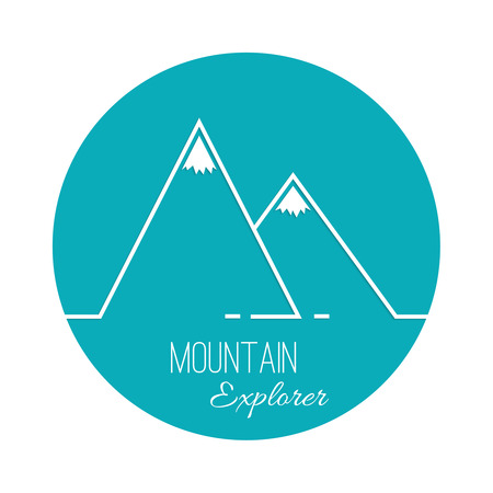 The mountains with snowy peaks. Vector icon. Logo. Hiking, climbing, travel. Investigation of the Wild. Outline.  イラスト・ベクター素材