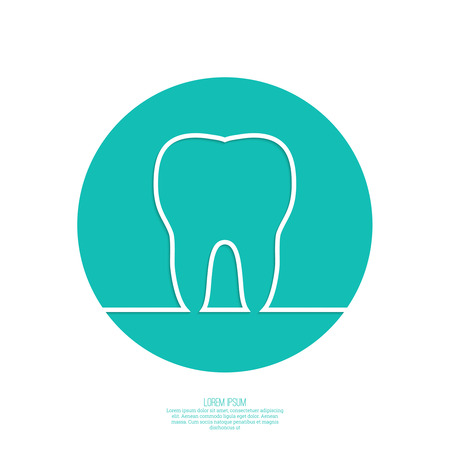 carious cavity: Background with tooth outline. Symbol for dental clinic. green. emblem dentist. icon, circle Illustration