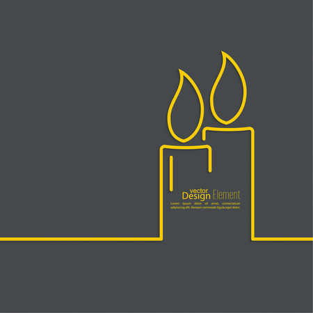 lightup: Two burning candles with a bright flame on a dark background. Outline. minimal.